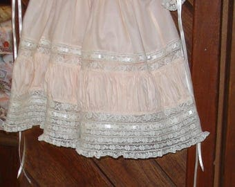 heirloom dress size 2  peach/ecru Easter portrait pageant wedding flower girl