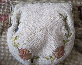 Vintage Ivory Seed Bead and Crewel Floral Embroidered Dancing Purse Bride Bridal