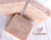 SOFT CASHMERE Soap coconut milk, mango butter, and silk - hot process - lilies, peaches, amber, musk, ylang ylang