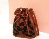 Leopard Leather bucket bag, leather bag, panther, brown leather bag, shoulderbag, women's bag,