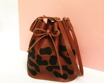 Leopard Leather bucket bag, leather bag, panther, brown leather bag, shoulderbag, women's bag,
