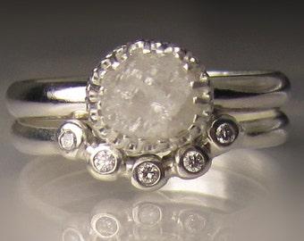 Raw Diamond Engagement Set, White Raw Diamond Ring, Rough Diamond Ring
