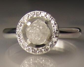 Raw Engagement Ring, White Raw Diamond Ring, Raw Diamond Halo Ring, Rough Diamond Ring