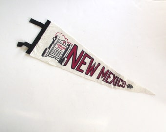 New Mexico Souvenir Pennant, Large Vintage Felt Flag in White, Black and Red