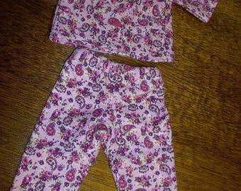 """Pink Floral Flannel Pajamas for 18"""" doll / Will fit AG"""