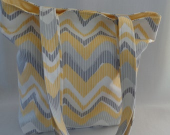Yellow Grey Chevron, Medium Tote, Small Diaper BAG, Spring Summer Shoulder Purse, Work Purse