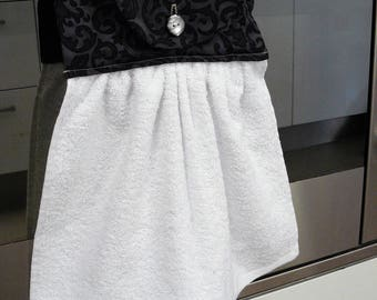 Hanging Hand Towel - white with black and grey swirl