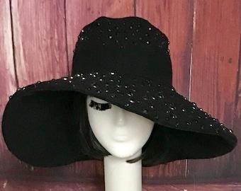 Black Wide Brim Hat, Wool Black Sun Hat, Festival Hat, Black Hat Rhinestones, Packable Hat, Black Floppy Hat