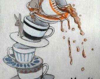 "High Quality Gilcee Art Print of ""Cup of Tea""  painting, tea party, bunnies, teacups, tea"