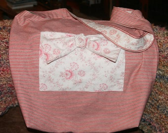 Large Lined Red & White Stripe Lightweight Canvas Bag w/ Bow and Fabric Flower on Pocket