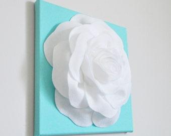 Aqua Nursery Decor, Rose Flower Baby Room Art, Mom Gift Mermaid Nursery Aqua Wall Art, Baby Girl Nautical Nursery Textured Wall Art, Spring