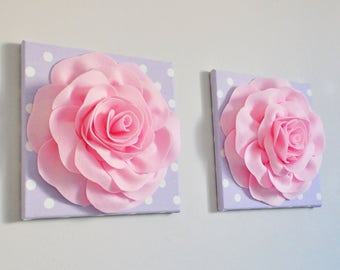 Rose Flower Wall Mandala, handmade Nursery Home Decor, Baby Pink Rose on Lilac with White Polka Dot Canvas Wall Set of Two, Purple and Pink