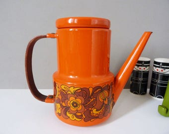 Vintage orange enamel coffee pot