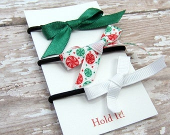 Green, Red & White Ponytail Bow Elastic, Girls Ponytail Elastic, Bow Ponytail Holder, Womens Pontail Holder,  Hair Tie, Set of 3
