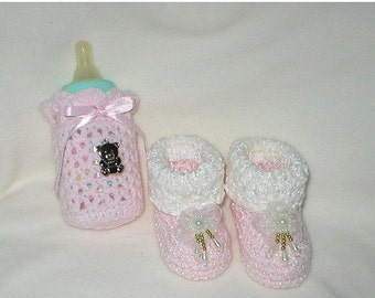 40% OFF RETIRING SALE Crochet Baby 0-3 Mts 4 Oz. Bottle Cover Baby Pink White Chenille White Teardrop Organza Floral Booties Gift Set