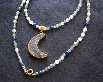 Moon necklace gold | druzy  pendant | beaded stone | lapis lazuli | moonstone bead | labradorite | night sky | druzy crystal