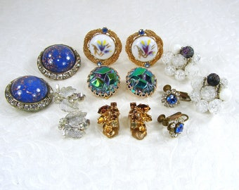 LOT 7 PairWearable Vintage Earrings Clip Screw Hand Painted Glass Western Germany Rhinestone Beaded Cluster Blue Green Silver Gold White