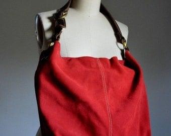 ON SALE RED Suede Handbag Large Hobo Bag Shoulder Purse White Stitching Dark Brown Strap tote bag unlined