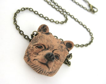 Brown Bear Jewelry - Mama Bear Necklace - Woodland Animal Forest Jewelry - Clay Animal Pendant - Mens Womens Gift For Her Cosplay Costume