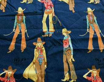 """31"""" x 43"""" Piece Alexander Henry Penelope Lonestars Cowgirl Ranch Cotton Screen Printed Fabric Mod Fashion / Quilting Fabric Home Decor S120"""