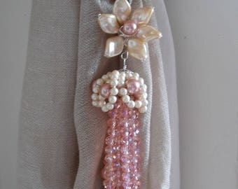 Pink decorative curtain tiebacks faux pearls, pink glass crystals flowers tassels drapery holders - tie backs curtain