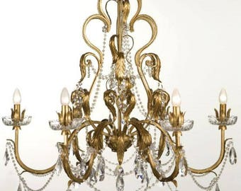Gold leaf crystal chandelier 6 lights clear drops rhinestones and crystal swags 100% MADE IN ITALY