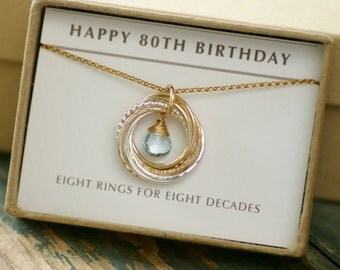 View 80th birthday 8 rings by ilovehoneywillow on etsy for What to give grandma for her birthday