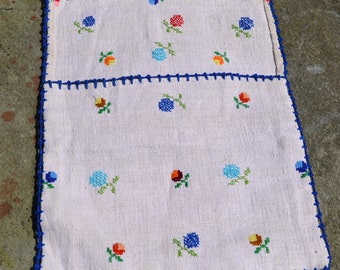 Vintage hemp wall hanging/Romanian rustic textile/ Transylvania peasant textile/ 1950s embroidered pouch/wall storage/ cloth sack farm chic