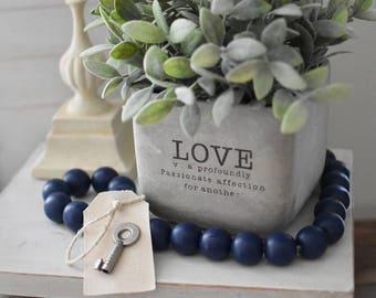 Navy Blue Wood Bead Garland - Navy Blue Ball Garland - Key to Decor Beads Blue Garland - Blue Wooden Bead Garland - Navy Blue Ball Garland