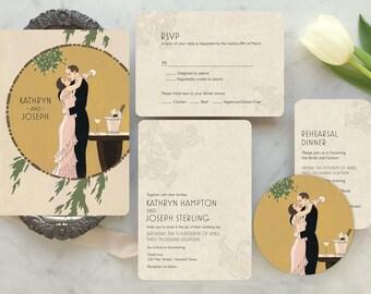 Art Deco Wedding Invitation, Speakeasy Wedding, Vintage Hollywood, The Great Gatsby, Art Deco Party, Vintage Hollywood, My Man Godfrey