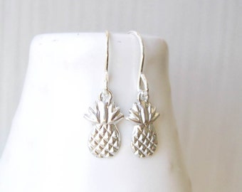 Dainty Silver Earrings, Pineapple Jewelry, Simple, Dangle, Petite, Cute, Small, Nickel Free Titanium, Sterling, Sweet, Drop, Metal, Clip On