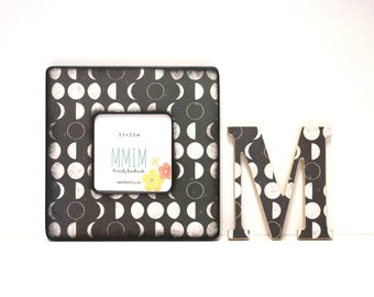 Moon Calander Picture Frame, Instagram Frame, Wood Frame, Unique Frames, Handmade Gifts, Moon Phases, Full Moon, Black & White, Modern Baby