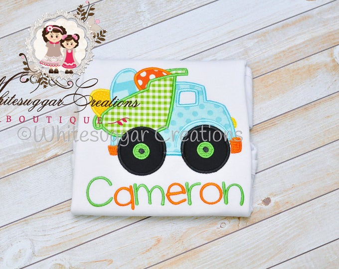 Baby Boy Easter Shirt - Dump-truck with Eggs Appliqued Shirt - First Easter Outfit