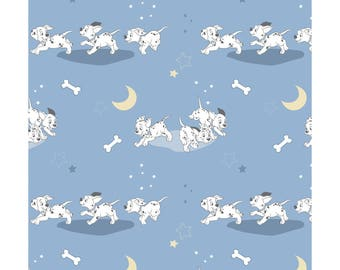 101 Dalmatians from Camelot Fabrics - Full or Half yard Running Dogs on Blue - Disney's Dalmations Fabric
