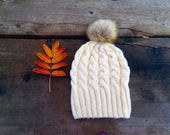 Knit Hat with Fur Pom Pom, Faux Fur Pom Pom Hat, Women's Slouchy Beanie, Cable Knit Hat, Knitting Hat, Pom Pom Hat, Cream, Off White, Tan