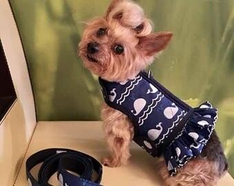 Ocean Whales  Small Dog Harness Made in USA, dog harness, dog harnesses