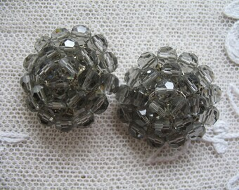 Vintage Cluster Earrings ~ Clip Ons ~  Smokey Gray Glass Crystal Beads