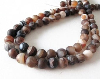 "Madagascar Matte Swirl Beads - Round Agate Gemstone Beads - Brown Smooth Striped Beads - 8mm - 16"" Strand - Natural - DIY Jewelry Making"