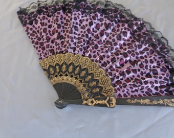 Purple Leopard Satin Fan - trimmed in black lace with gold and black ribs