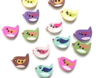 14 bird wood buttons 15 mm assorted colours- mixed pack