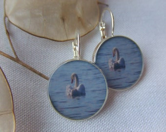 SALE!!!! Arcadia Swan. Short Dangle Photo Earrings.