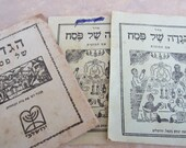 RESERVED Rare Set of Three Vintage Hebrew Haggadahs Made in Israel