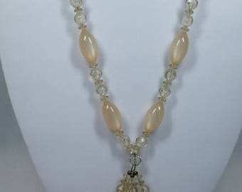 SALE 50% OFF Vintage Pink and clear bead Necklace Costume Jewelry