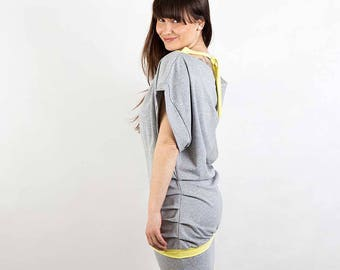 Heather grey loose fit mini dress, cotton, open back  (D2)