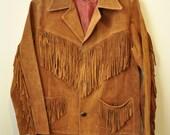 Vintage Large Leather Fringe Jacket 42 Chest