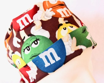 Scrub Hat for Women - Surgical Scrub Hat, Basic Tie Back Cap, M&M's Candy Hat, Pediatric