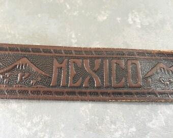 Vintage Hand tooled brown leather belt, mexico, brass, men, man's, souvenir