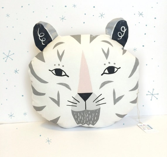 Snow Tiger Decorative Pillow /black, grey and pale pink