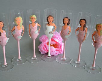 Hand Painted Personalized Bridesmaid gift glasses for Bridal Party