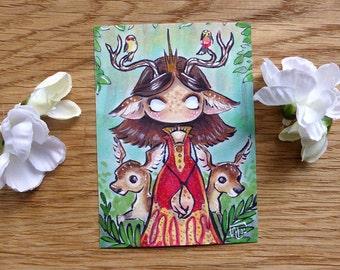 PRINT ACEO - Deer Queen